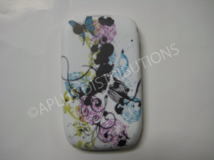 New Black Paint Graphics TPU Cover For Blackberry 8520 - (0095)