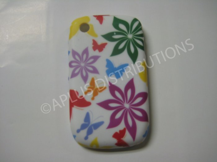 New Multi-Color Flower Image TPU Cover For Blackberry 8520 - (0092)