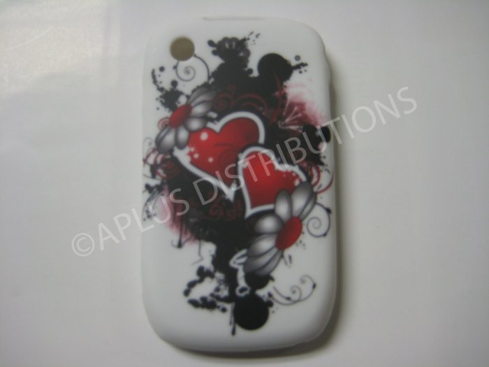 New Red Beating Heart TPU Cover For Blackberry 8520 - (0097)