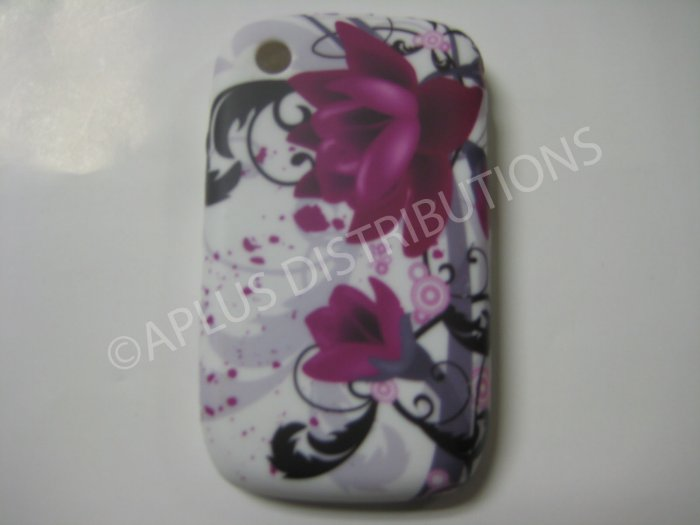 New Purple Flower Series (Water Lily) TPU Cover For Blackberry 8520 - (0093)