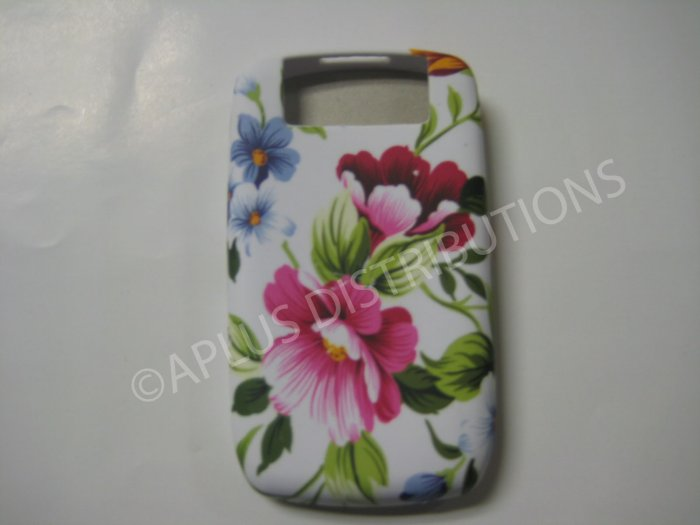 New White Pink Flowers TPU Cover For Blackberry 8900 - (0089)