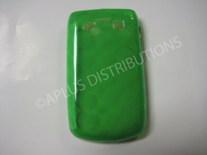 New Green Transparent Multi-Circles TPU Cover For Blackberry 9700 - (0035)
