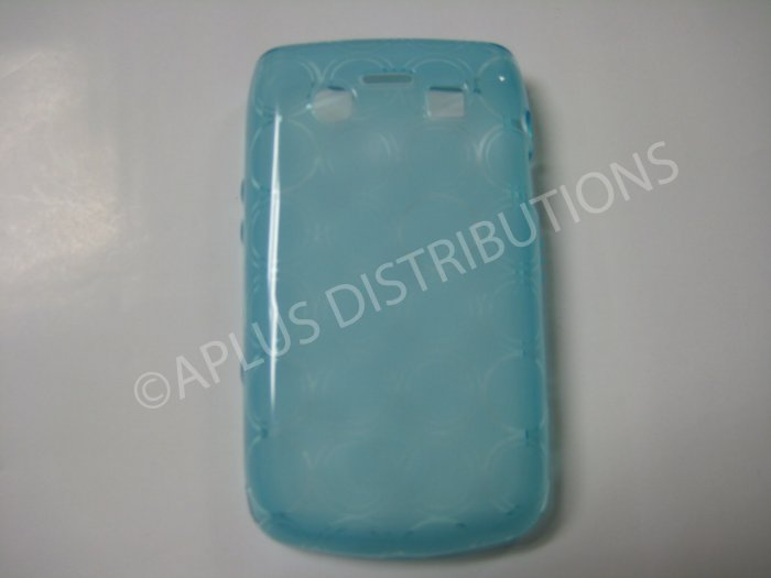 New Light Blue Transparent Multi-Circles TPU Cover For Blackberry 9700 - (0043)