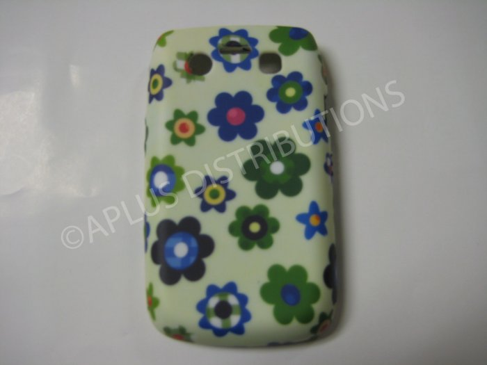 New Green Groovy Flower TPU Cover For Blackberry 9700 - (0110)