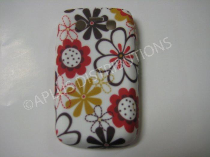New Brown/Red Flower Image TPU Cover For Blackberry 9700 - (0091)