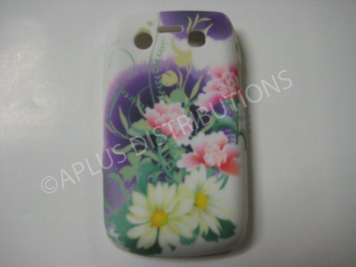 New Purple Flower Design TPU Cover For Blackberry 9700 - (0033)