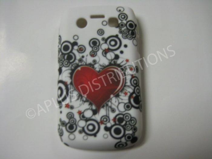 New Red Heart In Middle TPU Cover For Blackberry 9700 - (0109)