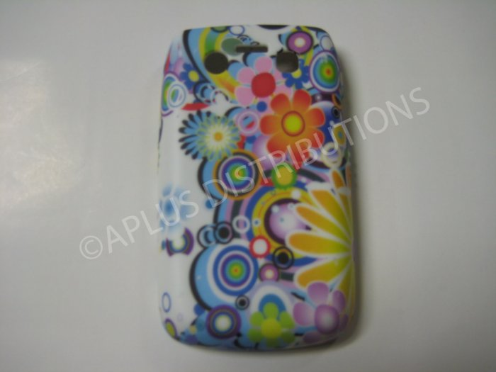 New Multi-Color Flower W/Circles TPU Cover For Blackberry 9700 - (0114)