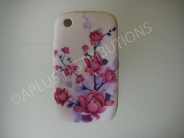 New Purple Cherry Blossom Series TPU Cover For Blackberry 8520 - (0031)
