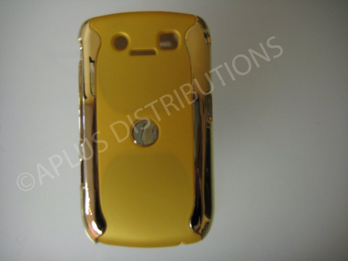 New Yellow Metallic Two Piece Design Hard Protective Cover For Blackberry 8900 - (0116)