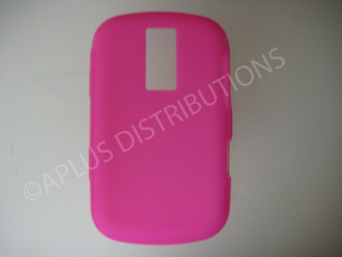 New Hot Pink Solid Color Silicone Cover For Blackberry 9000 - (0190)