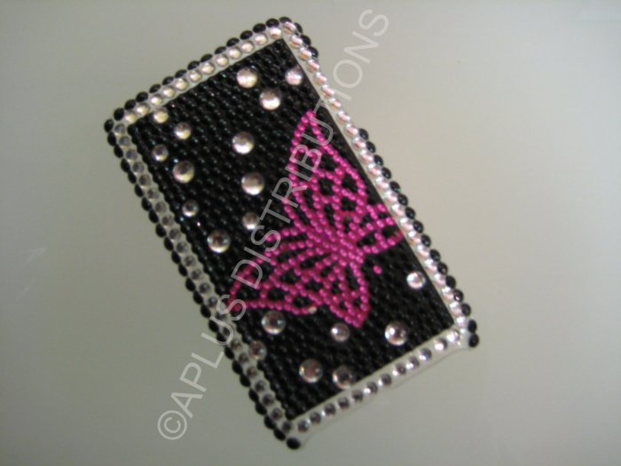 NEW FASHIONABLE BLING OPEN BUTTERFLY FOR IPOD TOUCH 2ND 3RD GENERATION-PINK/BLACK