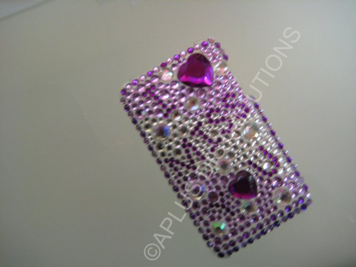 NEW FASHIONABLE BLING I MISS YOU W/DIAMONDS FOR IPOD TOUCH 2ND 3RD GENERATION-PURPLE/WHITE