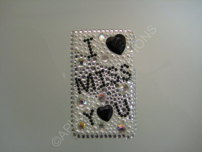 NEW FASHIONABLE BLING I MISS YOU W/DIAMONDS FOR IPOD TOUCH 2ND 3RD GENERATION-Black/White