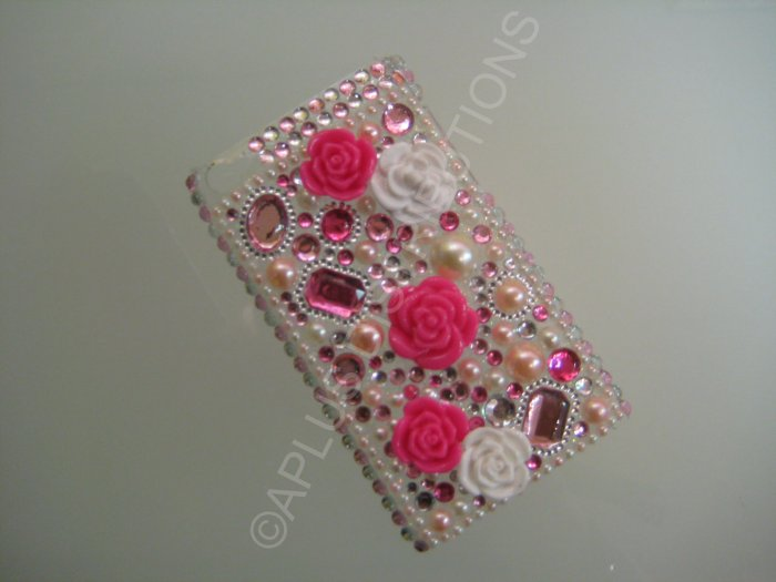 NEW FASHIONABLE BLING 3D FLOWERS WITH DIAMOND FOR IPOD TOUCH 4TH GENERATION-HOTPINK/PINK