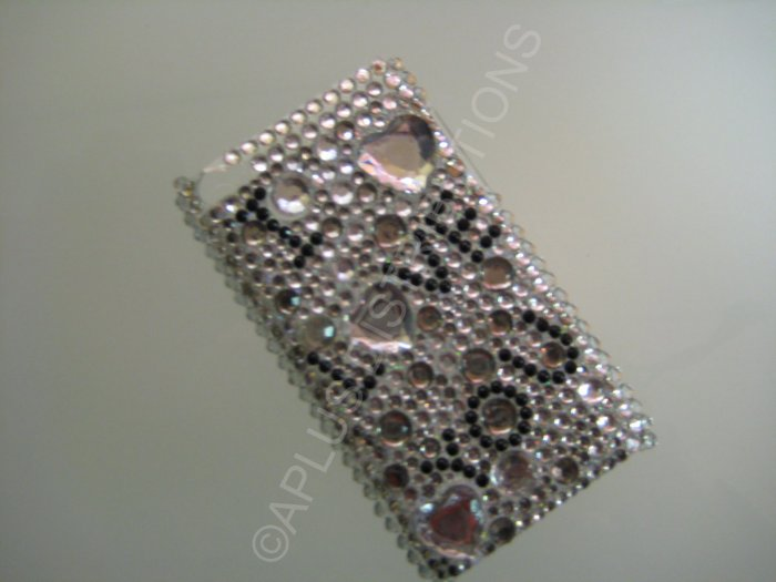 NEW FASHIONABLE BLING I LOVE YOU WITH DIAMONDS FOR IPOD TOUCH 4TH GENERATION-Black/White