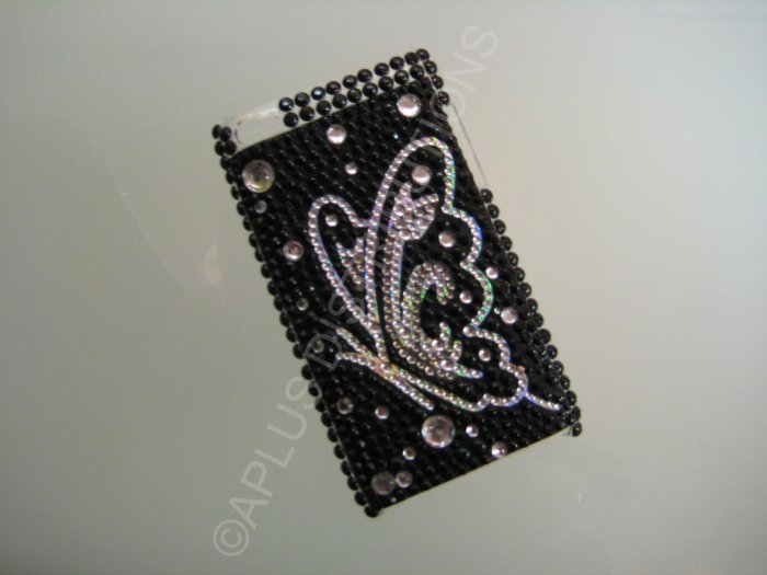NEW FASHIONABLE BLING BUTTERFLY SIDEVIEW FOR IPOD TOUCH 4TH GENERATION-BLACK/WHITE