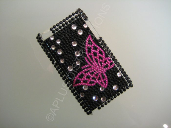 NEW FASHIONABLE BLING OPEN BUTTERFLY FOR IPOD TOUCH 4TH GENERATION-PINK/BLACK