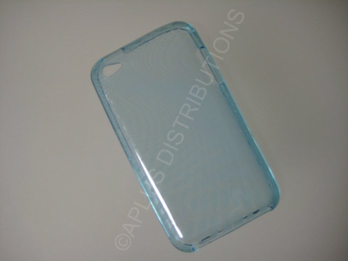 NEW FOR IPOD TOUCH 4TH GENERATION TRANSPARENT SWIRL ROUNDLETS-LIGHT BLUE