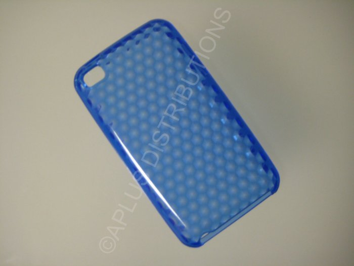 NEW FOR IPOD TOUCH 4TH GENERATION TRANSPARENT DIAMOND CUT PATTERN-DARK BLUE
