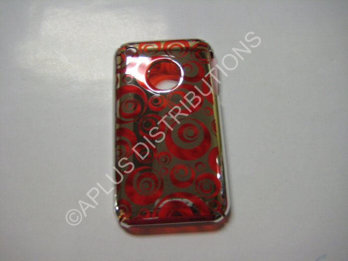 New Red Chrome Multi-Circles Design Hard Protective Cover For iPhone 3G 3GS - (0073)