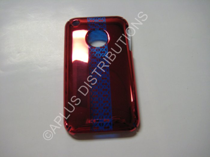 New Red Chrome Tire Tracks Design Hard Protective Cover For iPhone 3G 3GS - (0070)
