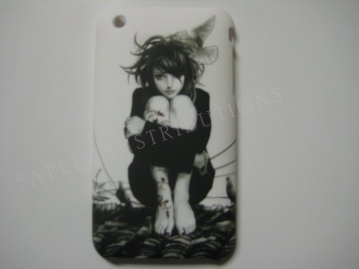 New Black Gothic Girl Scared Design Hard Protective Cover For iPhone 3G 3GS - (0039)