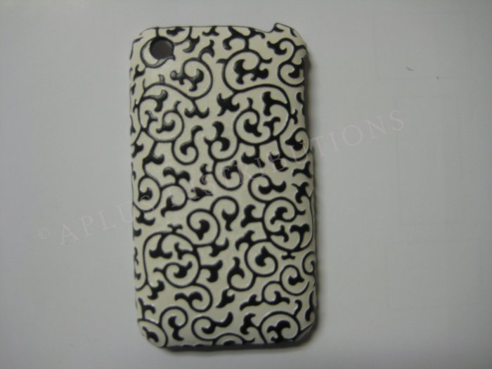 New Black Princess Swirl Design Hard Protective Cover For iPhone 3G 3GS - (0027)