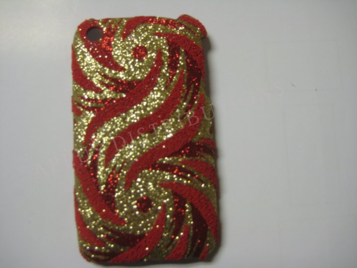 New Burnt Orange Glittery Swirlz Design Hard Protective Cover For iPhone 3G 3GS - (0034)