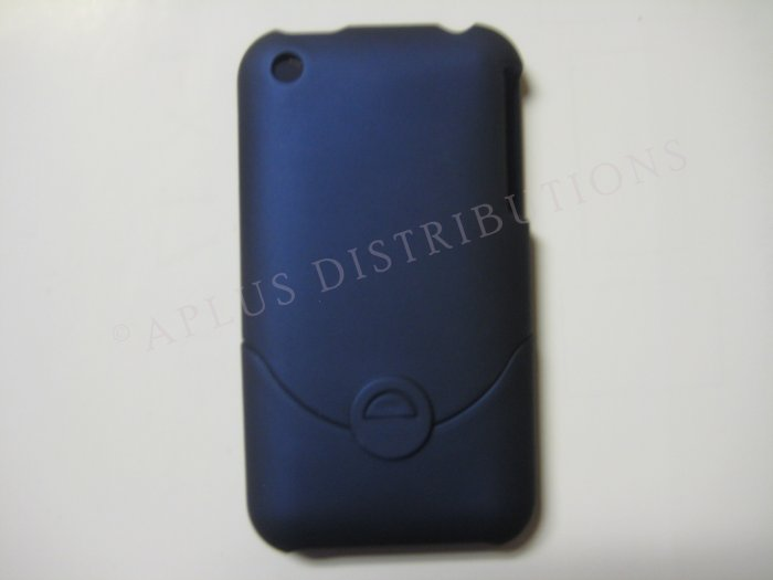New Navy Blue Rubberized Slider Design Hard Protective Cover For iPhone 3G 3GS - (0096)