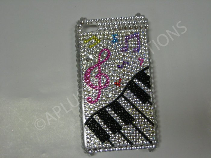 New White Music Piano Design Crystal Bling Diamond Case For iPhone 4 - (0032)