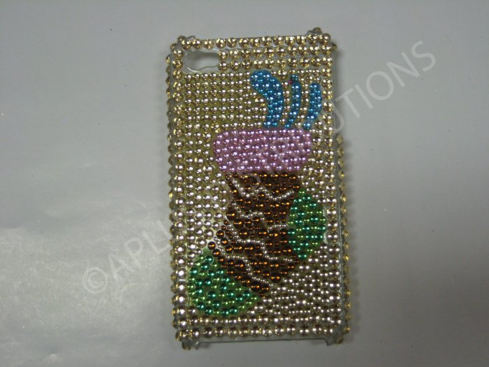 New Gold Hanging Sock Design Crystal Bling Diamond Case For iPhone 4 - (0049)