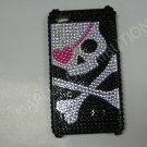 New White Skull Pink Patch Design Crystal Bling Diamond Case For iPhone 4 - (0029)