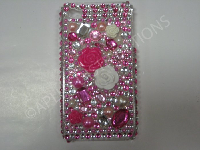 New Hot Pink 3D Flowers W/Diamond Design Crystal Bling Diamond Case For iPhone 4 - (0048)
