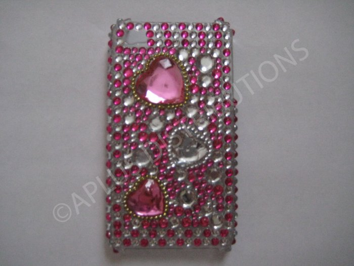 New Pink Multi-Hearts Diamonds Design Crystal Bling Diamond Case For iPhone 4 - (0026)