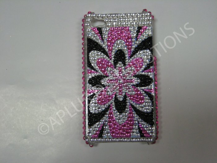 New Pink Blast Design Crystal Bling Diamond Case For iPhone 4 - (0037)