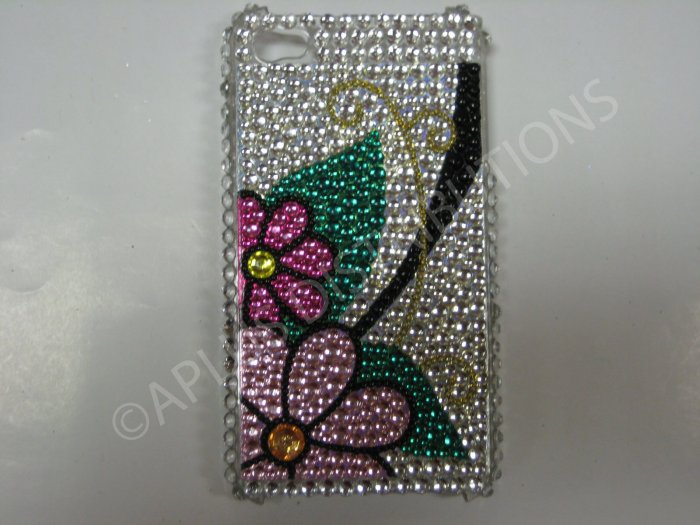 New Pink Flower W/Leaf Design Crystal Bling Diamond Case For iPhone 4 - (0040)
