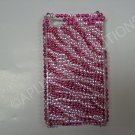New Hot Pink Zebra   Design Crystal Bling Diamond Case For iPhone 4 - (0027)