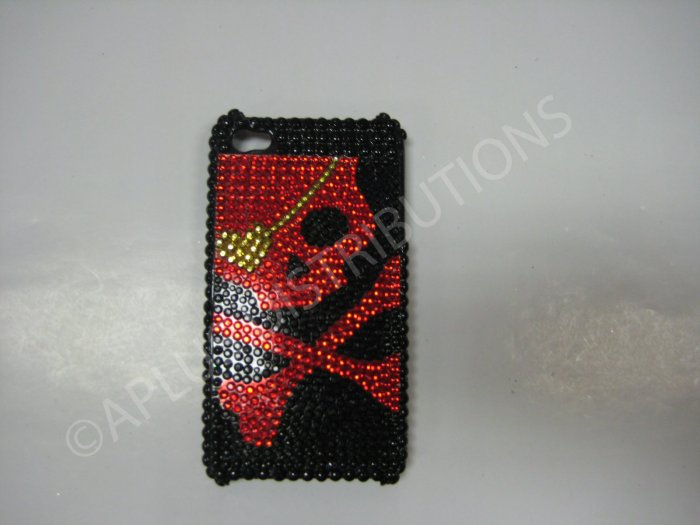 New Red Skull Yellow Patch Design Crystal Bling Diamond Case For iPhone 4 - (0028)