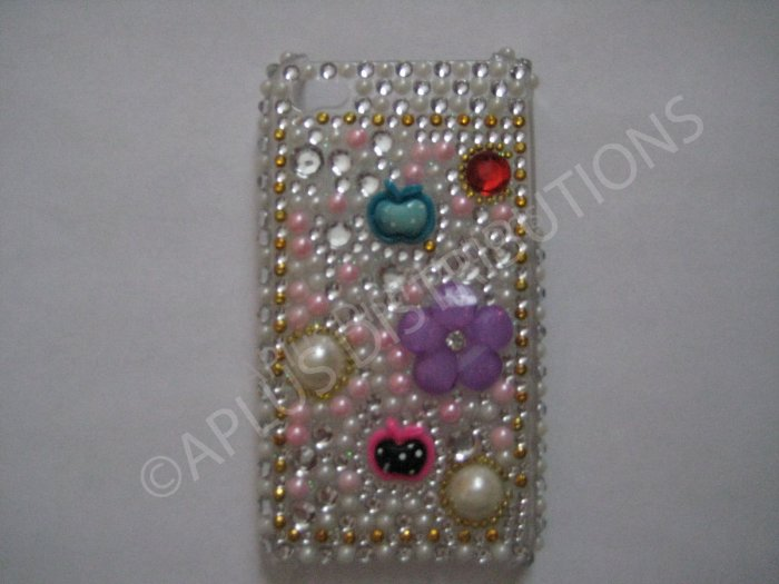 New White Apples/Flowers/Pearls Design Crystal Bling Diamond Case For iPhone 4 - (0042)