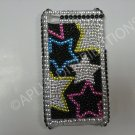 New Multi-Colors Outlined Stars Design Crystal Bling Diamond Case For iPhone 4 - (0041)