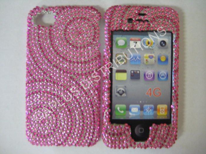 New Hot Pink Swirlz No Diamond Design Crystal Bling Diamond Case For iPhone 4 - (0114)