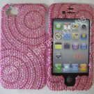New Hot Pink Swirlz No Diamond Design Crystal Bling Diamond Case For iPhone 4 - (0114)