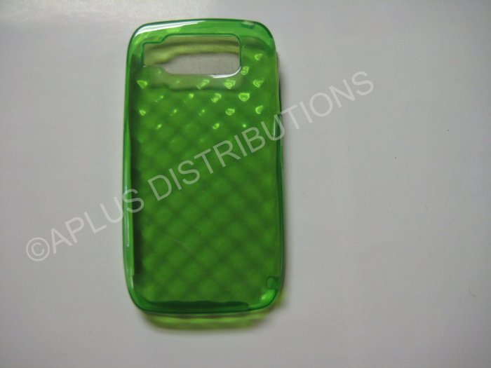 New Green Big Diamond Cut Pattern TPU Cover For Nokia E72 - (0007)