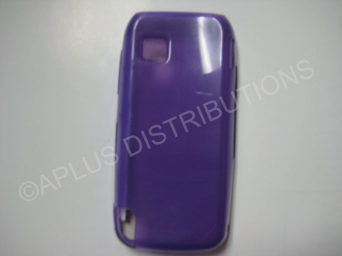 New Purple Transparent Microsquares TPU Cover For Nokia Nuron 5230 - (0022)