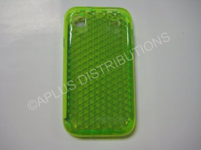New Lime Green Diamond Cut Pattern TPU Cover For Samsung Galaxy S I9000 - (0014)