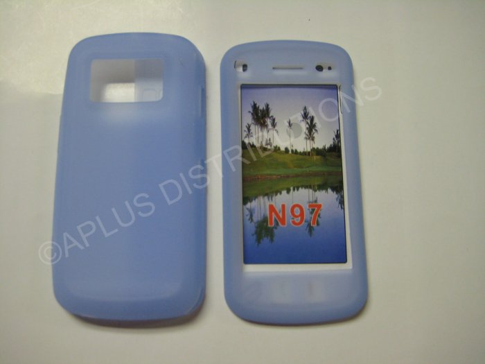 New Light Blue Nokia N97 Silicone Skin Case For Nokia N97 - (0004)