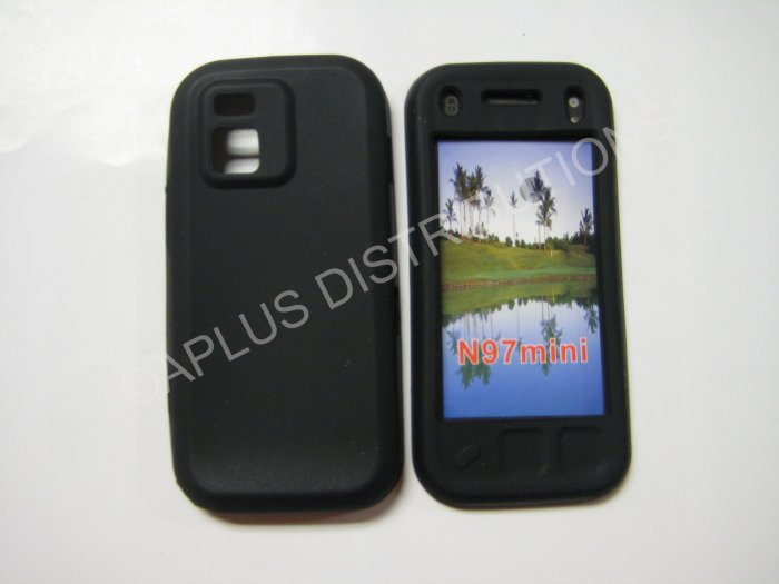 New Black Solid Color Silicone Skin Case For Nokia N97 Mini - (0006)