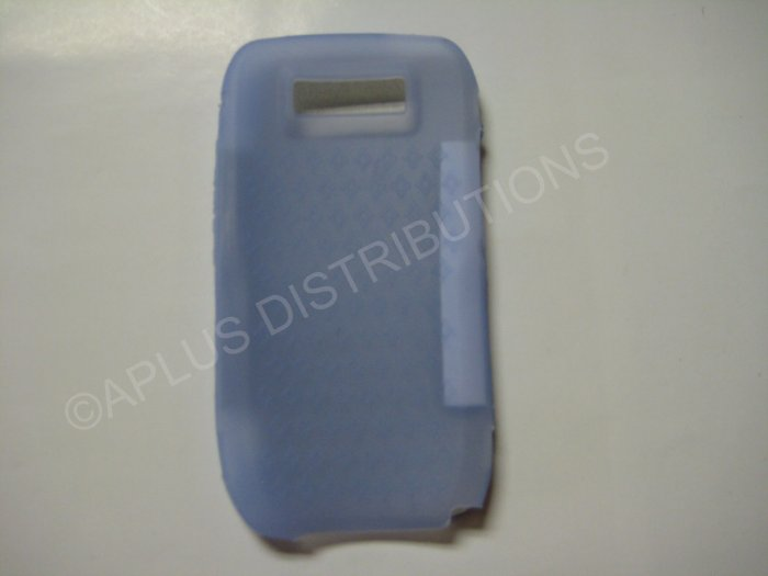 New Light Blue Diamond Print Silicone Skin Case For Nokia E71 - (0004)
