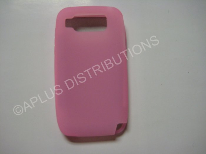New Pink Solid Color Silicone Skin Case For Nokia E72 - (0013)